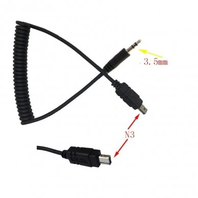 """2,5 mm nuotolinio užrakto paleidimo kabelis su laidu N3 skirtas """"Nikon """""""