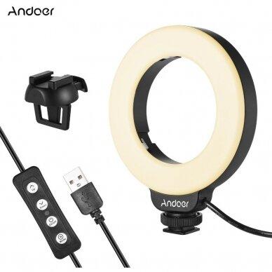 4 colių fotografijos apšvietimo šviesos diodų žiedas 3
