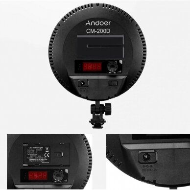 apvalus LED šviestuvas Andoer CM-200D 3