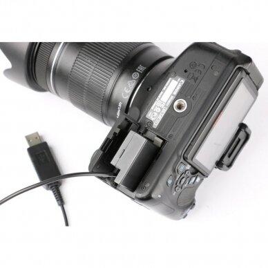 Canon LP-E8 baterijos maitinimas nuo USB 5
