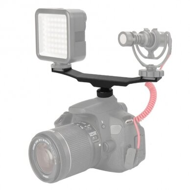 Dvigubas laikiklis ant šviesos šaltiniui ant fotoaparato 4