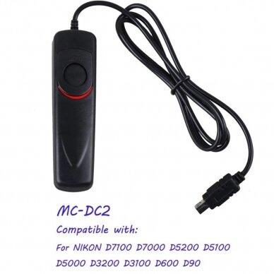 laidinis nuotolinio užrakto paleidimas  (Nikon MC-DC2)