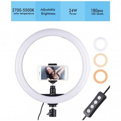 žiedinė LED lempa su valdikliu 24 cm 3